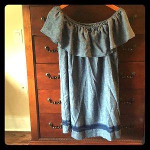 Zara Denim Linen Off the Shoulder Dress Sz Medium